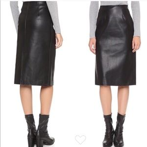J.O.A. Faux Leather Vegan Pencil Skirt in Black